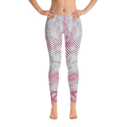 Polka Dot Leggings, Swirly Yoga Pants, Psychedelic Street wear Leggings, Pink Green White Clubbing Leggings 3