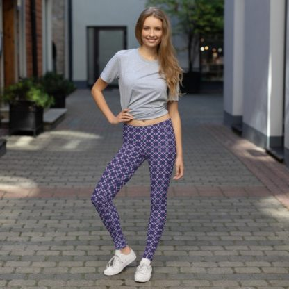 WOmens Leggings in Tartan Purple and Green