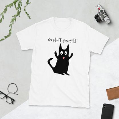 Rude Cat Shirt, Funny Cat T Shirt, Go Fluff Yourself T-Shirt 1