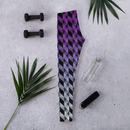 Purple and Black Geometric Shape Pattern Leggings 1