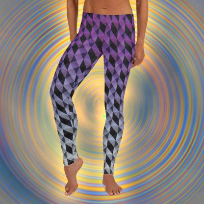 Purple and Black Geometric Shape Pattern Leggings 2