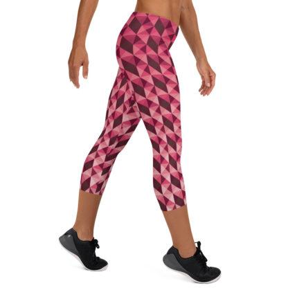 Abstract Geometric Shape Pattern in Red Capri Leggings 5
