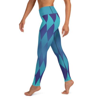 Diamond Yoga Leggings, Harlequin Yoga Leggings. Blue Yoga Pants 3
