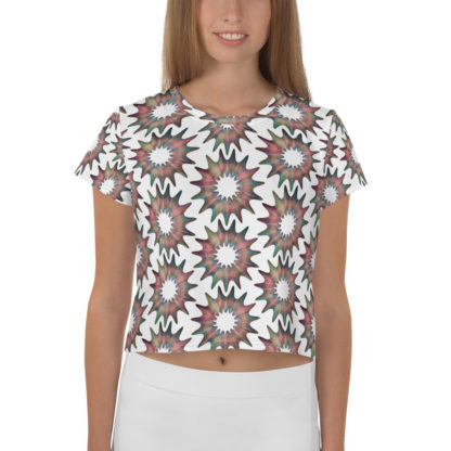 Cosmic Flower All-Over Pattern Crop Top 1