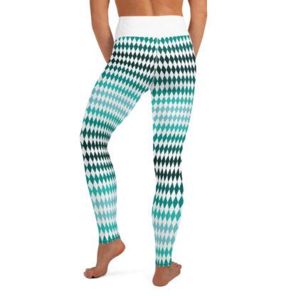 Green Yoga Leggings Diamond Pattern, Diamond Pattern Yoga Pants 7