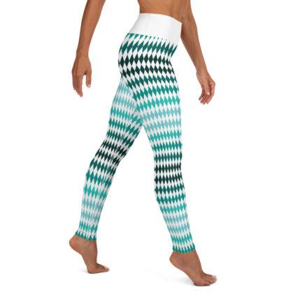 Green Yoga Leggings Diamond Pattern, Diamond Pattern Yoga Pants 6