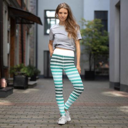 Green Yoga Leggings Diamond Pattern, Diamond Pattern Yoga Pants 4