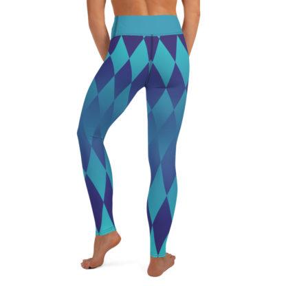 Diamond Yoga Leggings, Harlequin Yoga Leggings. Blue Yoga Pants 5